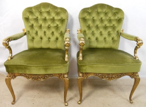 Pair Upholstered Library Armchairs with Brass Frames